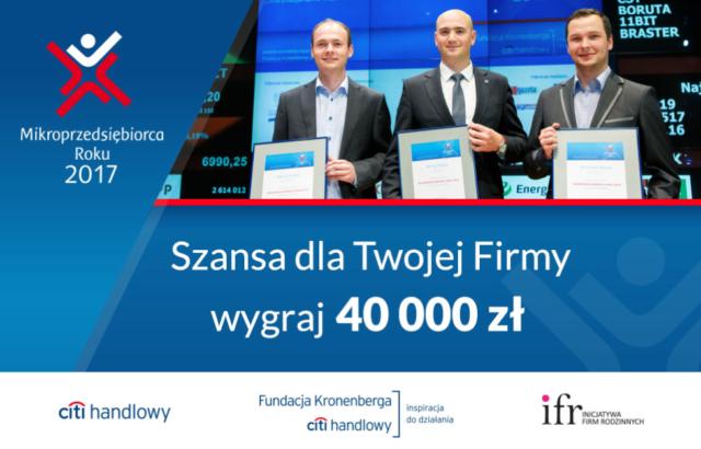 Konkurs Mikroprzedsiębiorca Roku 2017. Do wygrania 40 tys. złotych